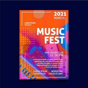 Modelo de pôster do festival de música