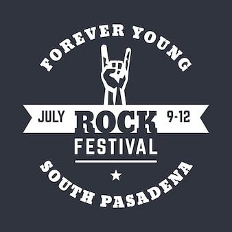 Modelo de pôster do festival de rock, design de camiseta, impressão com buzina, gesto popular de show de rock, ilustração