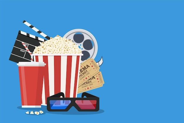 Modelo de pôster do filme. pipoca, refrigerante para viagem, óculos de cinema 3d, rolo de filme e ingressos. design de cinema. ilustração vetorial em estilo simples