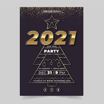 Modelo de pôster dourado de festa de ano novo 2021