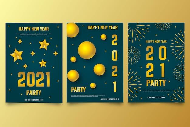 Modelo de pôster dourado do ano novo 2021