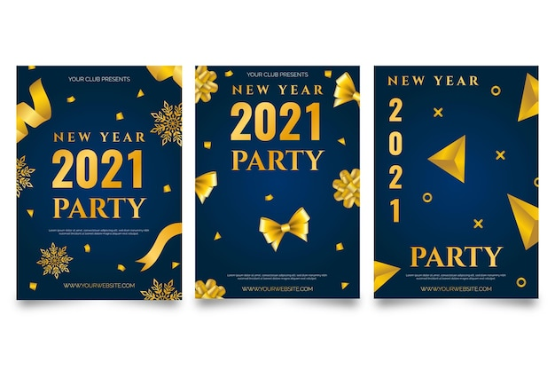 Modelo de pôster dourado e azul escuro para o ano novo 2021