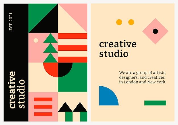 Modelo de pôster editável vetorial inspirado em bauhaus design plano texto de estúdio criativo