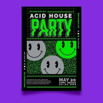 Modelo de pôster emoji ácido de design plano