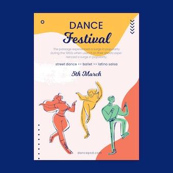Modelo de pôster escolar de cursos de dança