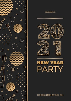 Modelo de pôster festa dourada ano novo 2021