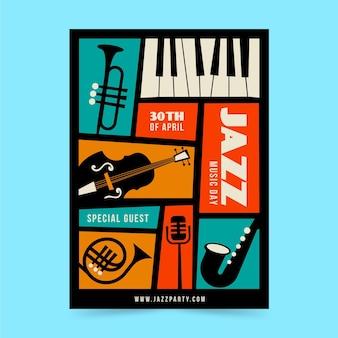 Modelo de pôster flat internacional do dia do jazz
