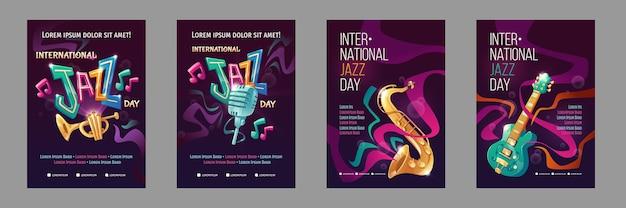 Modelo de pôster flat internacional para o dia do jazz