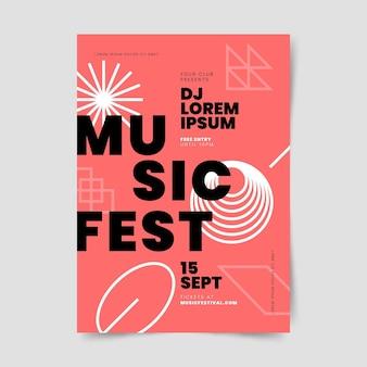 Modelo de pôster gradiente abstrato vertical de música fest