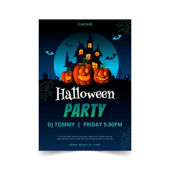 Modelo de pôster gradiente de festa de halloween
