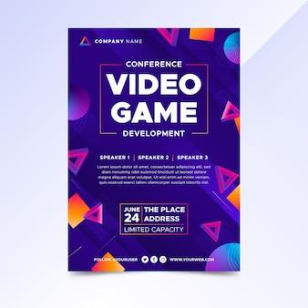 Modelo de pôster gradiente de videogame