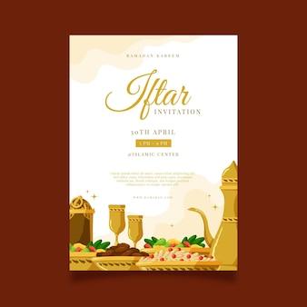 Modelo de pôster iftar vertical desenhado à mão