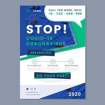 Modelo de pôster informativo sobre coronavírus