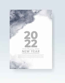 Modelo de pôster ou cartão de feliz ano novo de 2022 com respingos de aquarela