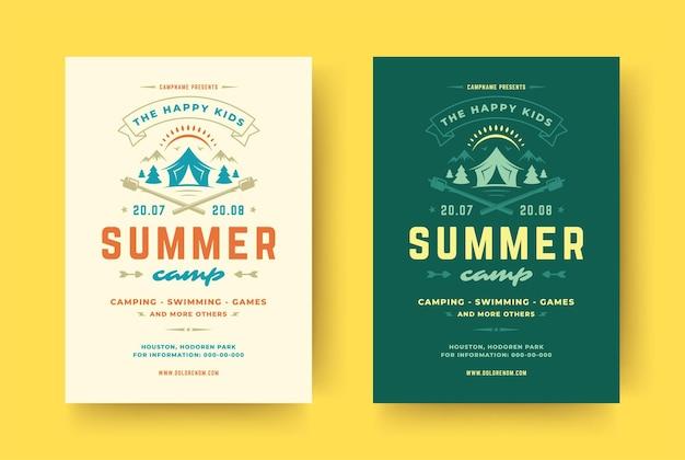 Modelo de pôster ou folheto de acampamento de verão para crianças