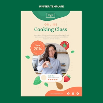 Modelo de pôster para aula de culinária em design plano