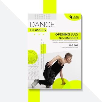Modelo de pôster para aulas de dança com artista masculino