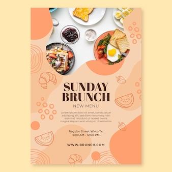 Modelo de pôster para brunch de domingo