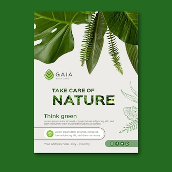 Modelo de pôster para cuidar da natureza e meio ambiente