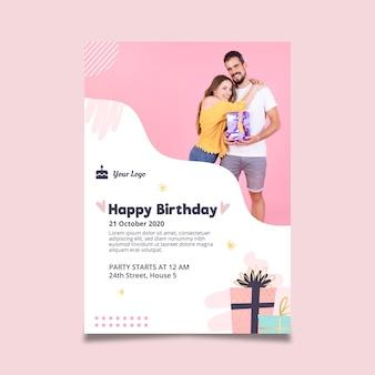Modelo de pôster para festa de aniversário