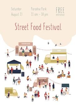 Modelo de pôster para festival de comida de rua com pessoas andando entre vans ou barracas, comprando refeições caseiras, comendo e bebendo