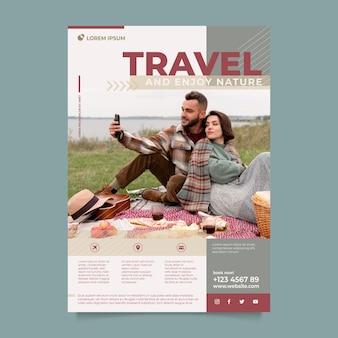 Modelo de pôster para viajar e curtir a natureza