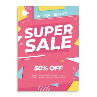 Modelo de pôster plano abstrato de super vendas