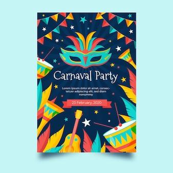 Modelo de pôster plano carnaval brasileiro