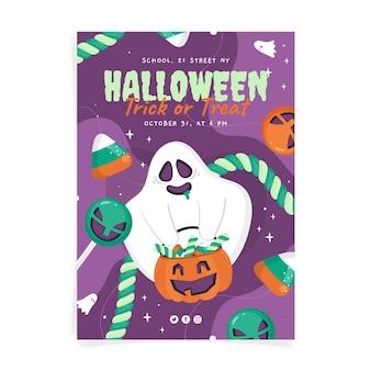 Modelo de pôster plano de festa vertical de halloween desenhado à mão