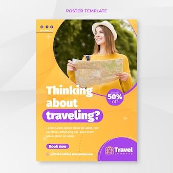 Modelo de pôster plano de viagens