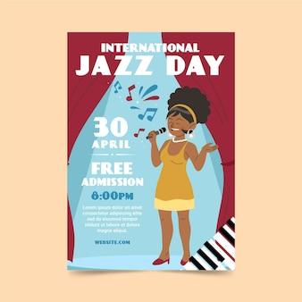 Modelo de pôster plano orgânico do dia internacional do jazz