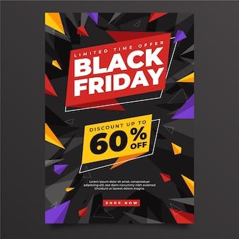 Modelo de pôster plano poligonal preto na sexta-feira de venda vertical