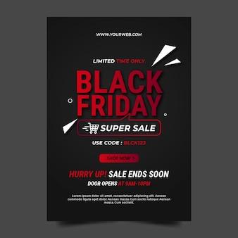 Modelo de pôster plano preto de venda vertical na sexta-feira