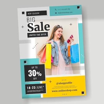 Modelo de pôster plano vertical de venda com foto