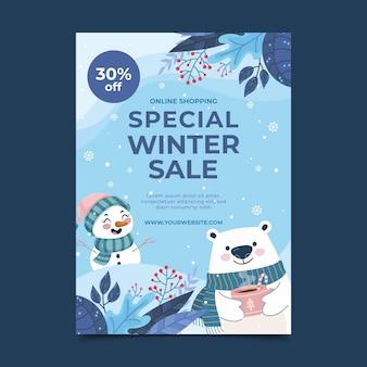 Modelo de pôster plano vertical de venda de inverno desenhado à mão com urso polar e boneco de neve