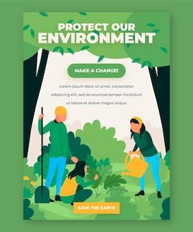 Modelo de pôster proteja nosso meio ambiente