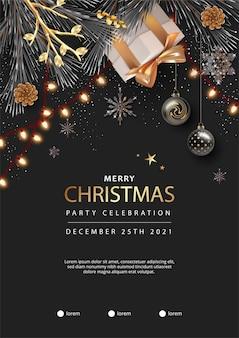 Modelo de pôster realista de feliz natal e feliz ano novo com caixa de presente