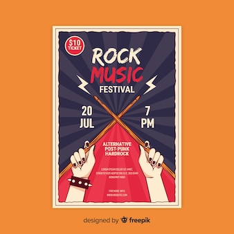 Modelo de poster retro com música rock