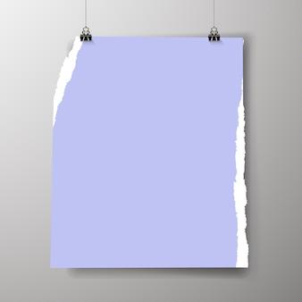 Modelo de pôster vazio. um pôster, um pedaço de papel pendurado na parede. layout do banner publicitário do estande da feira, página em branco das imagens do outdoor para impressão