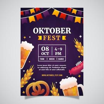 Modelo de pôster vertical com gradiente oktoberfest