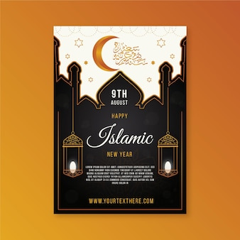 Modelo de pôster vertical de ano novo islâmico gradiente