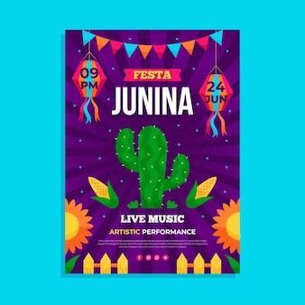 Modelo de pôster vertical de desenho animado festa junina