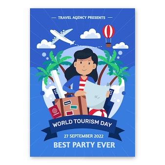 Modelo de pôster vertical de dia de turismo em mundo plano