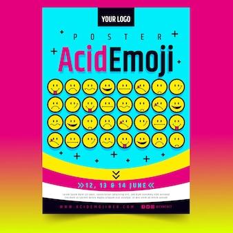 Modelo de pôster vertical de emoji de ácido plano