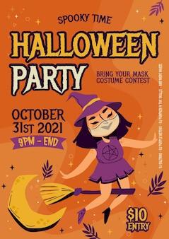 Modelo de pôster vertical de festa de halloween desenhado à mão
