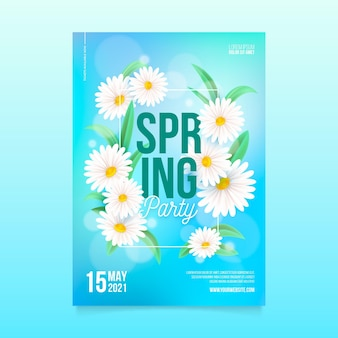 Modelo de pôster vertical de festa de primavera realista