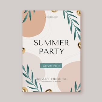 Modelo de pôster vertical de festa de verão com foto