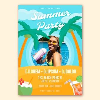 Modelo de pôster vertical de festa de verão desenhado à mão com foto