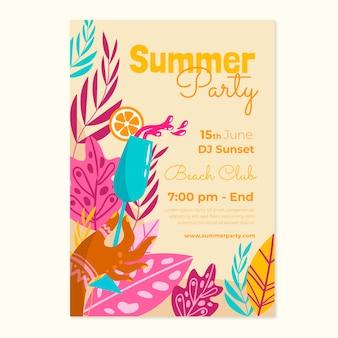 Modelo de pôster vertical de festa de verão desenhado à mão