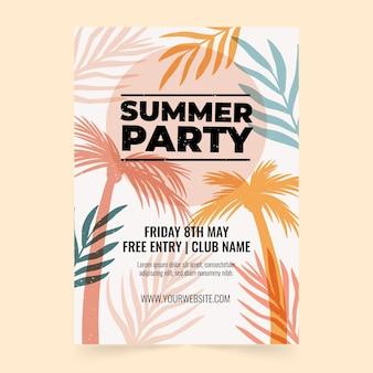 Modelo de pôster vertical de festa de verão desenhado à mão Vetor grátis